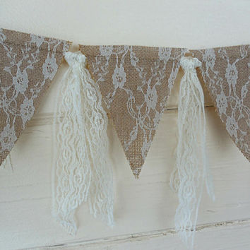 Wedding Garland Banner Burlap Decor Lace Bunting