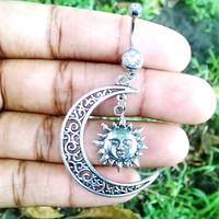 Half hallow moon and sun 14 gauge stainless steel dangle belly button navel rings, body jewelry, 14g