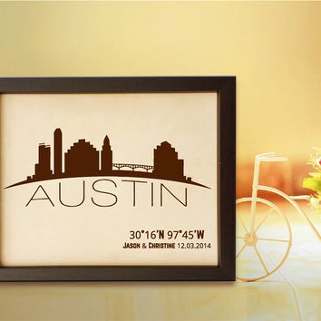 Lik335 Leather Engraved Wedding Third Anniversary Austin Longitude Latitude personalized gift place wedding date wedding names