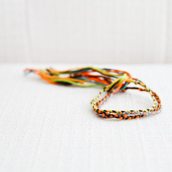 Friendship Bracelet Set of Three Braids Multicolor Embroidery Threads / Stocking Stuffer