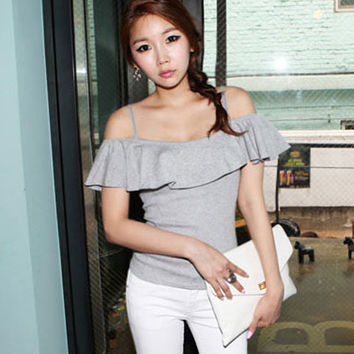 Feminine Big Ruffles Light Grey Off Shoulder Top. Gray Slim Fit Top