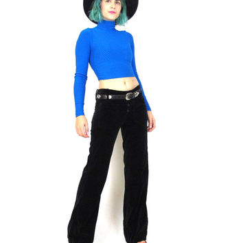 70s Black Velvet Bell Bottoms Flared Pants Vintage Rocker Hippie Boho Low Waist Trousers (S)