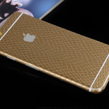 Gold Leather Snake Pattern Decal Wrap Skin Set Apple iPhone 6s 6 / iPhone 6s 6 Plus