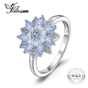 JewelryPalace New Flower 1.2ct Created Light Blue Spinel Statement Ring 925 Sterling Silver Wedding Engagement Jewelry For Women