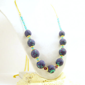 Aqua Amethyst and Blue Unique Clay Necklace, Art Necklace, Fun Jewelry, Handmade Polymer Clay Jewelry