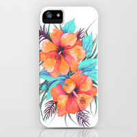 TROPICAL FLOWER {orange hibiscus}  iPhone Case by Schatzi Brown | Society6