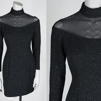 Vintage 80s Dress / 1980s Lillie Rubin Black Glitter Bodycon Illusion Dress S