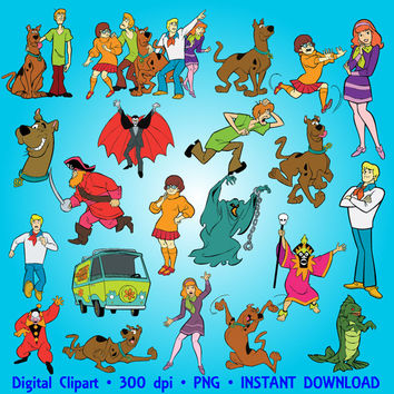 Scooby-Doo Clipart Party Digital Clipart Set Scooby Doo Clip Art Scrapbooking Invitations Printable Digital Graphic INSTANT DOWNLOAD 300 dpi