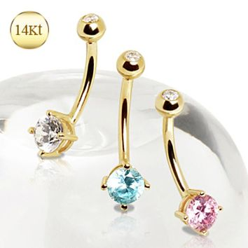 14Kt Gold Navel Ring with Prong Set Round CZ