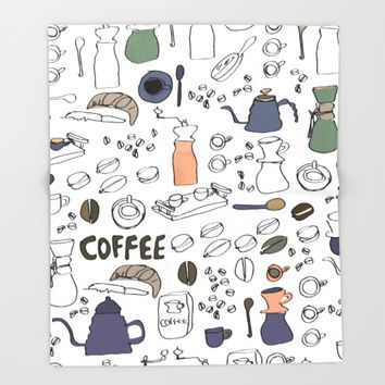 Artisanal Coffee Throw Blanket by Yaansoon