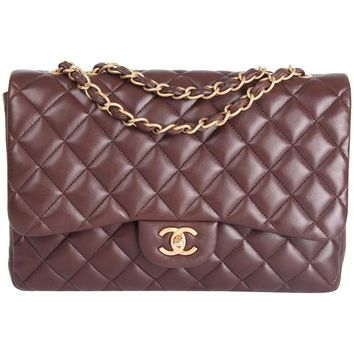 Chanel 2.55 Timeless Jumbo Single Flap Bag - brown leather
