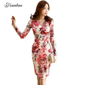 Foamlina Women Floral Print Bodycon Dress Autumn Long Sleeve Pencil Office Work Sheath Dress Ladies OL Business Party Dresses
