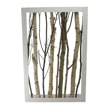 """28.25"""" Rustic Chic Mixed Branches in a White Wooden Frame Wall Decoration"""