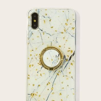 Marble Pattern iPhone Case With Phone Holder 2pcs