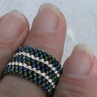 Blue iris silver peyote beadwork ring