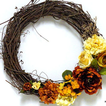 Cream and Orange Autumn Grapevine Wreath- Vine Wreath- Fall Flowers- Autumn Wreath- Fall Wreath