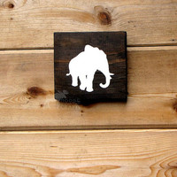 Rustic Wood Elephant Wall Art - 6x6 pine,rustic nursery,rustic decor,stained wood, woodland, forest,kids room,country chic, babyshower gift