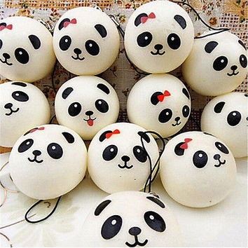 10cm Jumbo Squishy Cute Panda Charms Buns Cell Phone Charm Pendant Bag Strap HU
