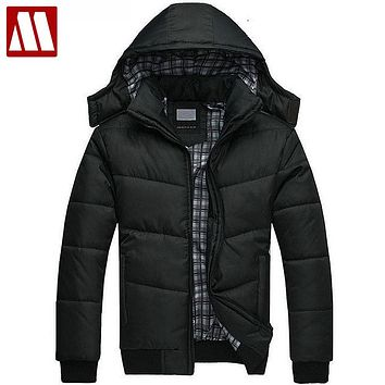 Men winter Hoodies quilted jacket warm fashion Men's puffer overcoat parka Outwear Winter cotton padded hooded warm coat S-XXXL