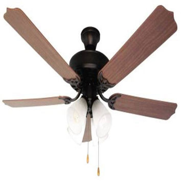 Bala Quick Connect Dual Mount Ceiling Fan, 52 In., Reversible Mahogany And Oak Blades, Antique Bronze