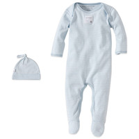 Burt's Bees Baby® Organic Cotton 2-Piece Footed Coverall and Hat Set in Blue Stripe