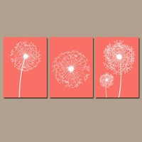 DANDELION Wall Art, Coral Bathroom Decor, Baby Girl Nursery Art, Coral Bedroom Pictures, CANVAS or Prints, Set of 3, Home Decor Wall Decor
