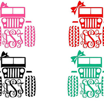 Three Sizes Jeep Heat Transfer GLITTER Vinyl Monograms. I cut it/You Iron it on! FREE SH