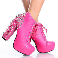 Spiked Studded Pink Heel Laced Ankle Boots  from CherryKreations21