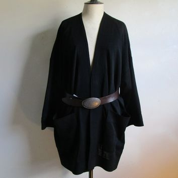 80s Wool Open Shawl Cardigan Ports International Vintage Black Jersey Knit 1980s Oversize Shrug Knitted Jacket Medium