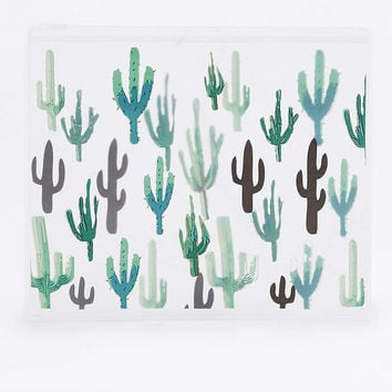 Green Cactus Plastic Zip Make-Up Bag - Urban Outfitters