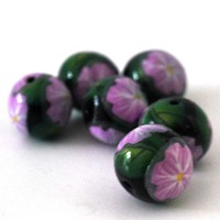 Lavender Flower Round Beads, 15mm Purple and Green Beads for Jewelry Making
