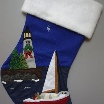 Sailing Stocking (Sailboat Nautical Ocean Sea)