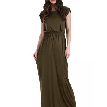 Lyss Loo Timeless Olive Maxi Dress With Elastic Waist & Side Slit