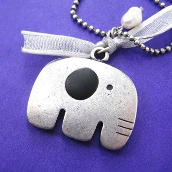 Adorable Elephant Animal Pendant Necklace in Silver on SALE