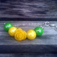 Yellow Flower Bracelet With Green and Yellow Beads by By5Jewelry