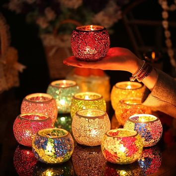 European style colorful glass candle cup candle cup KTV bar color mosaic candle holder