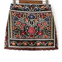 Tribal Embroidery Mini Skirt Women Multi color Cute Floral Skirts Fashion Sexy A Line Vintage New Skirt