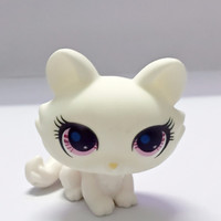 Littlest pet shop super cute classic white cat buyer required lps toy funko pop action toy figures free shipping 5CM PVC