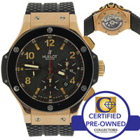 Hublot Geneve Big Bang 18k Rose Gold Automatic Black 42mm Watch 301.PX.130.RX