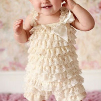 Ivory Lace Baby Romper Photo Prop - CPD001C