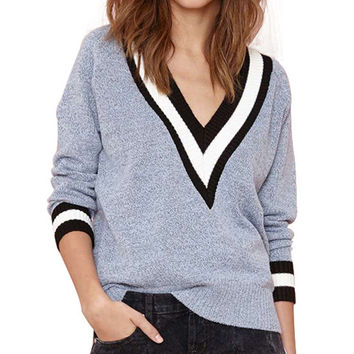 Light Blue Deep V-Neckline Sweater with Stripe Detail