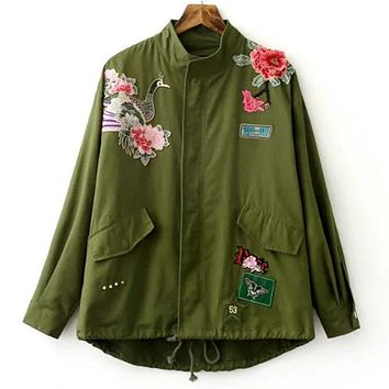 Women Army Green Floral Embroidery Jacket Patched Rivet Design Loose Flight Outwear Casual CoatWT0107