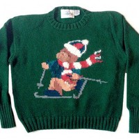 Shop Now! Ugly Sweaters: Skiing Teddy Bear Tacky Ugly Ski Sweater Women's Size Large (L) $22 - The Ugly Sweater Shop