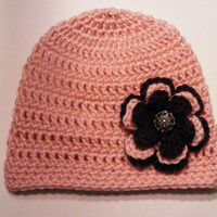 Layered flower Crochet Flapper Hat adorned with metal floral button Perfect newborn photo prop spring summer