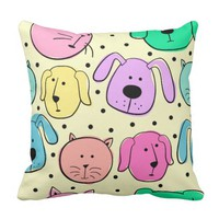 Cute Colorful Pet Pattern Throw Pillow