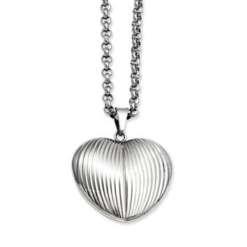 Stainless Steel Puffed Heart Pendant Necklace