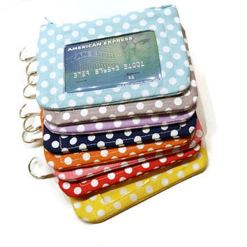 Polka dots zippered id purse key chain. CHOOSE YOUR COLORS! Id card women wallet. Coin purse keychain. Zippered Id pouch. Stocking stuffer/