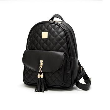 School Backpack trendy 3Pcs/Set Tassel Women Backpacks Female 2018 School Bags For Teenage Girls Black PU Leather Women Backpack Shoulder Bag Purse AT_54_4