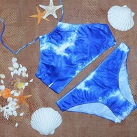 Bikini Set Tie Dye Crop halter Top High Neck Swimsuits