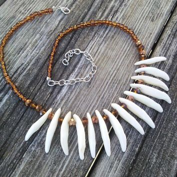 Coyote fang necklace, Beaded Canaine Teeth Tooth necklace, Real Animal Teeth, Primitive Gypsy Warrior Jewelry, Boho Tribal Necklace